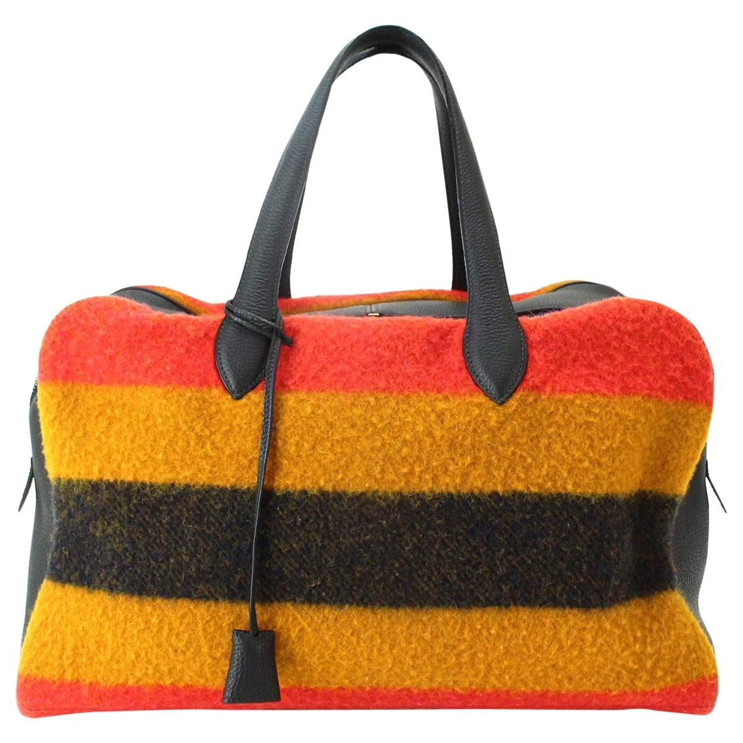 eb66f46ab46e Hermes Multi Stripe Wool Leather Men's Carryall Travel Duffle Weekender  Tote Bag For Sale at 1stdibs