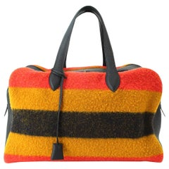 Hermes Multi Stripe Wool Leather Men's Carryall Travel Duffle Weekender Tote Bag