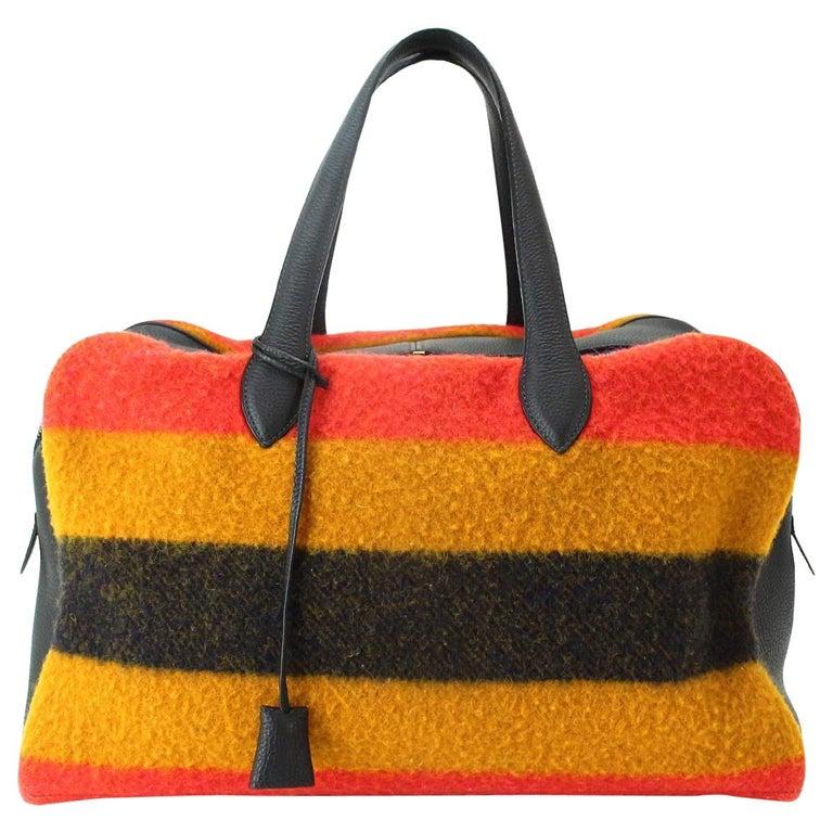 Hermes Multi Stripe Wool Leather Men's Carryall Travel Duffle Weekender Tote Bag
