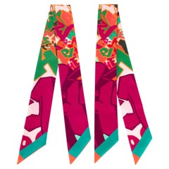 Hermes Twilly Graff Graffiti by Kongo Pair Fucshia / Orange/ Vert