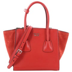 Prada Twin Pocket Tote Glace Calf and Suede Mini