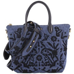 Prada Corsaire Convertible Zip Tote Embroidered Quilted Denim Small