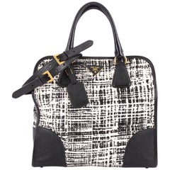 Prada Convertible Shopping Tote Tweed with Saffiano Leather Large