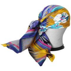 1980s Gucci Technicolor Deco Floral Silk Scarf