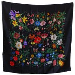 1980s Gucci Black Flora Printed Silk Scarf