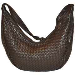 Bottega Veneta Deep Coco-Brown Woven Lambskin Zippered-Top Shoulder Bag