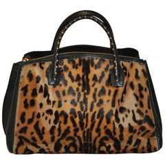 LaGucci Black Textured Calfskin with Leopard Print Pony & Studded Handle Tote