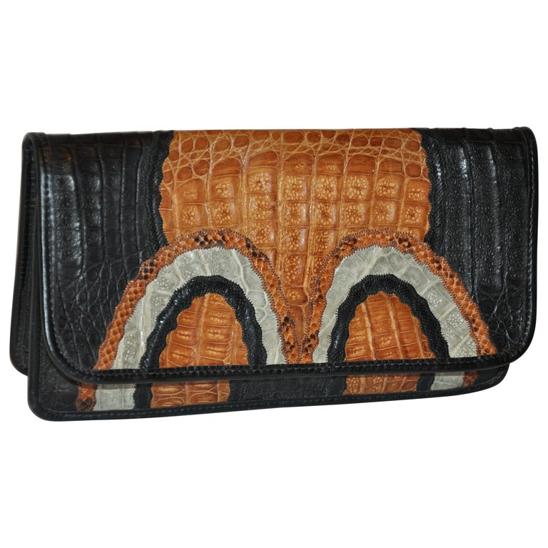 Carlos Falchi Multi-Color, Snake, Pylon, Crocodile and Alligator Skin Clutch