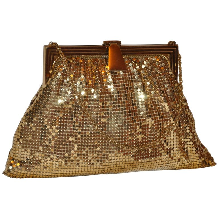 Whiting & Davis Gilded Gold Hardware Mesh Evening Bag For Sale