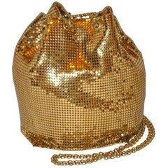 Whiting & Davis Fully Lined Gilded Gold Hardware Mesh Drawstring Evening Bag