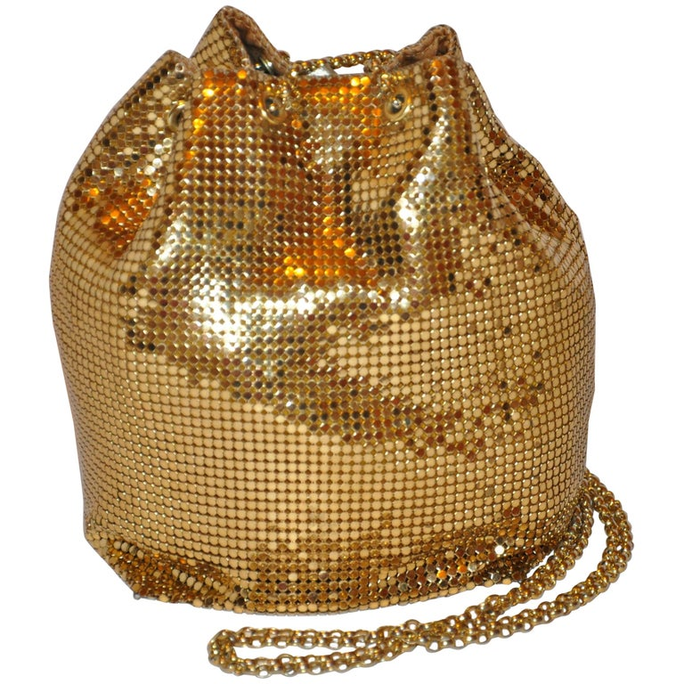Whiting & Davis Fully Lined Gilded Gold Hardware Mesh Drawstring Evening Bag For Sale