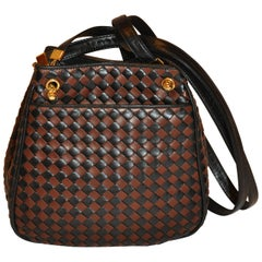 Bottega Veneta Coco-Brown & Black Woven Lambskin Shoulder Bag with Gold Hardware