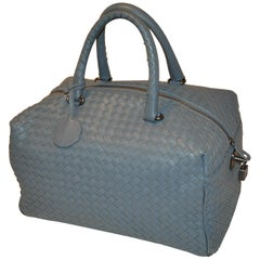 Bottega Veneta Steel-Blue Signature Woven Lambskin Weekend Tote