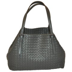 Bottega Veneta Rich Lambskin Signature Taupe Woven Double-Handle Shoulder Bag