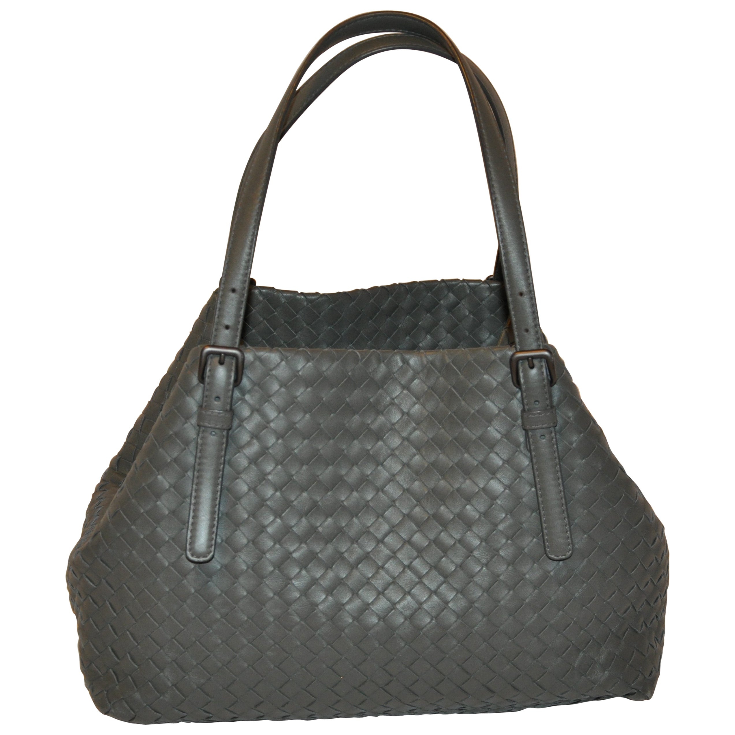 Bottega Veneta Rich Lambskin Signature Taupe Woven Double-Handle Shoulder Bag