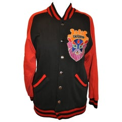 Kansai Yamamoto Bold Red & Black Cotton Embroidered Accent Snap-Front Jacket