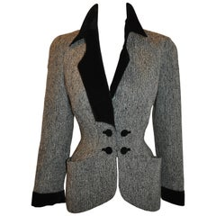 Thierry Mugler Black & Gray Herringbone with Velvet Signature Sculpted Jacket