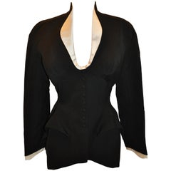 Thierry Mugler Signature Black Accented with Cream Sculpted Smoking Jacket