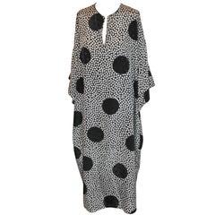Oscar de la Renta for Swirl Black & White Abstract Polka Dot Silk Caftan Dress