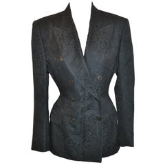 Jean Paul Gaultier Black-On-Black Floral Print Double-Breasted Smoking Blazer