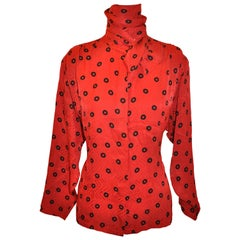 Christian Dior Red-On-Red Abstract Print with Black Extended-Collar Silk Blouse