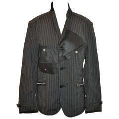 Junya Watanabe Comme des Garcons Black & Charcoal Stripe Deconstruct Jacket