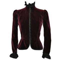 "Yves Saint Laurent Iconic ""Opium Collection"" Deep Plum Velvet & Ruffed Jacket"