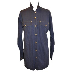 Gianni Versace Navy Linen & Cotton with Metallic Gold Accent Tunic Button Shirt