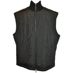 "Canali Men's Black Quilted ""Two-Way"" Zippered Vest with Knitted-Ribbed Collar"