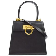 Salvatore Ferragamo Black Leather Gold 2in1 Kelly Style Top Handle Shoulder Bag