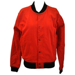 "Iconic Yohji Yamamoto Signature Embroidered ""Tiger"" Bold Red Snap-Front Jacket"