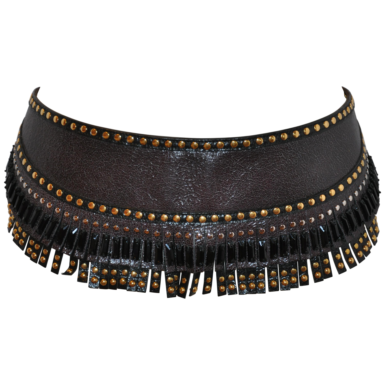 Prada Multi Gold Studded Coco-Brown Fringed with Black Beadwork Buckle Belt