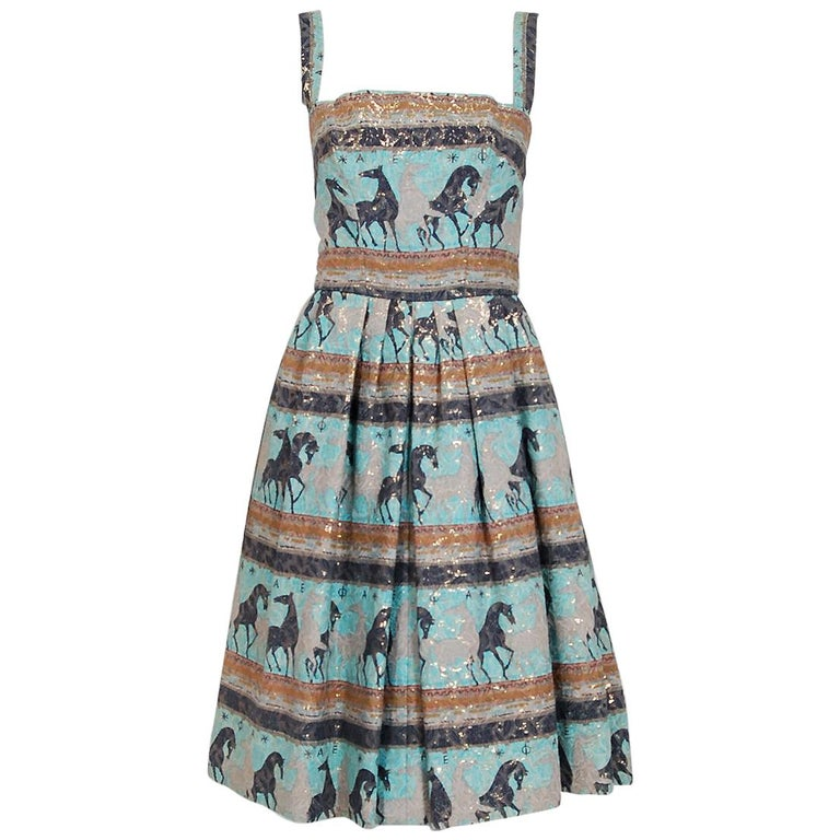1950's Philip Hulitar Novelty Print Horses Metallic Silk-Brocade Pleated Dress