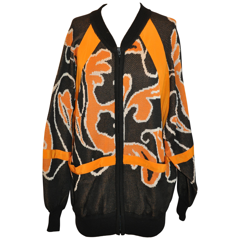 "Escada Whimsical Tangerine & Black ""Abstract"" Oversized Cotton Zipper Jacket"
