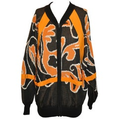 "Escada Whimsical Tangerine & Black ""Abstract"" Oversized Cotton Zipper Jacket"