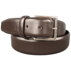 ERMENEGILDO ZEGNA Size 38 Brown Leather Dress Belt