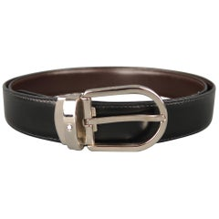 MONT BLANC Size 40 Black & Brown Reversible Leather Belt
