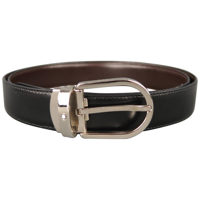 MONT BLANC Size 40 Black & Brown Reversible Leather Belt For Sale