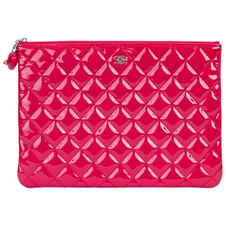 Chanel Hot Pink Patent Leather Clutch Bag