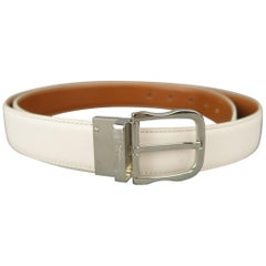 SALVATORE FERRAGAMO Size 40 Tan & White Leather Reversible Belt