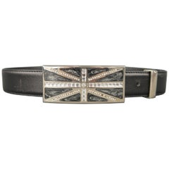 GIANNI VERSACE Size 28 Rhinestone Union Jack Black Leather Belt