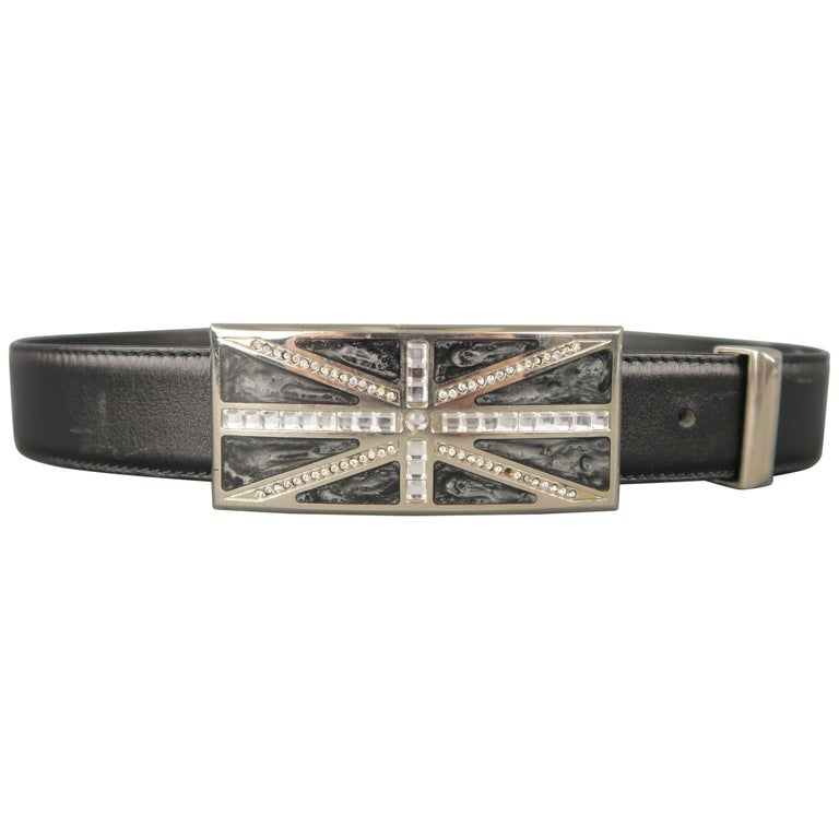 GIANNI VERSACE Size 28 Rhinestone Union Jack Black Leather Belt