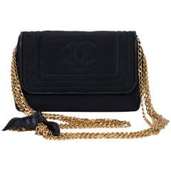Chanel Vintage Black Silk Multi chain Evening Bag, 1980s