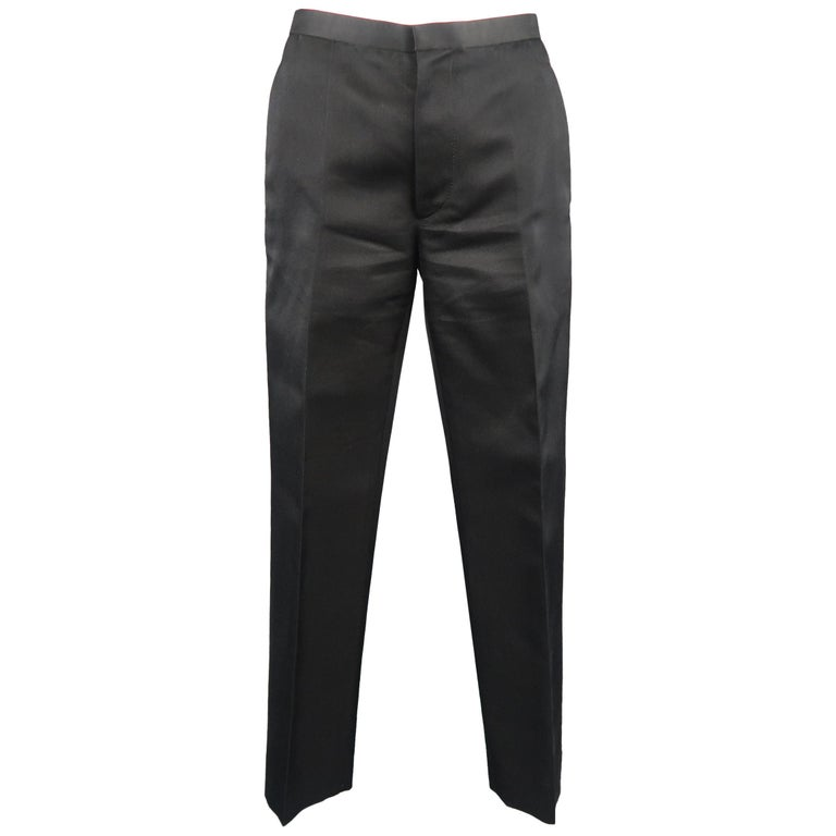 MARC JACOBS Size 2 Black Silk Twill Flat Front Dress Pants