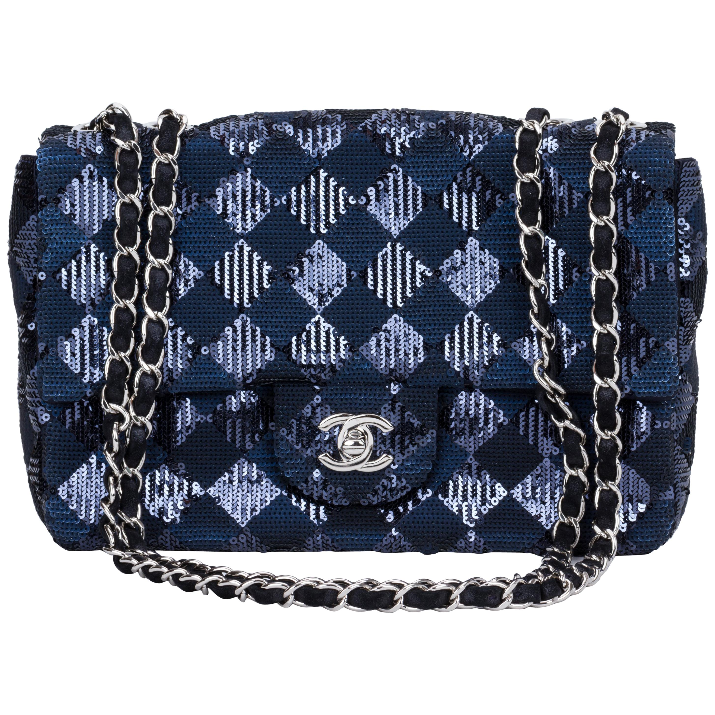 Chanel Navy and Black Sequins Evening Flap Bag