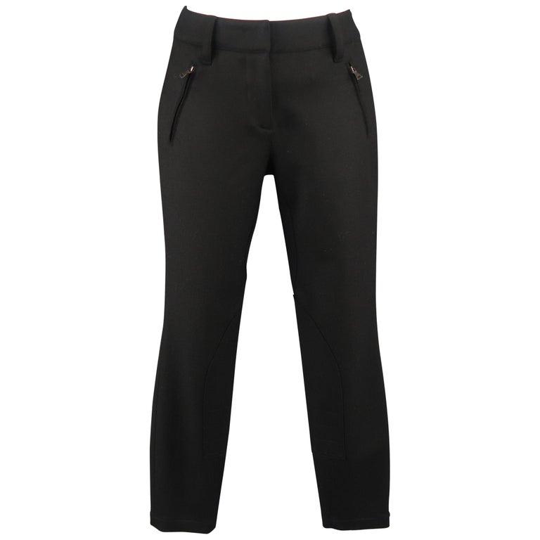 Prada Size 0 Black Stretch Wool Jodhpur Riding Dress Pants For Sale