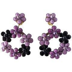 French Purple Flower Statement Earrings by Cilea Paris