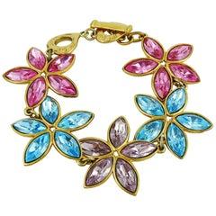 Yves Saint Laurent YSL Vintage Jewelled Floral Link Bracelet