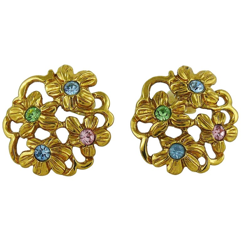 98913d2b740 Yves Saint Laurent YSL Vintage Jewelled Gold Toned Floral Clip On Earrings  For Sale at 1stdibs