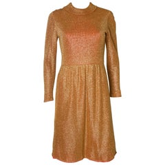 Gold Vintage Dress with Red Lining, 1970s